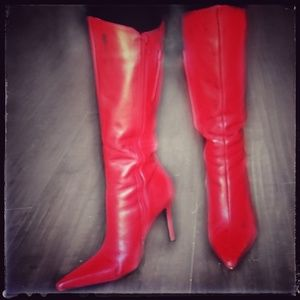 Knee-high Red Leather Boots